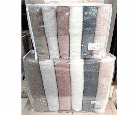 Махровые Полотенца 50x90 + 70x140 см по 6 шт/уп - ŞAHESER havlu serisi (cotton)
