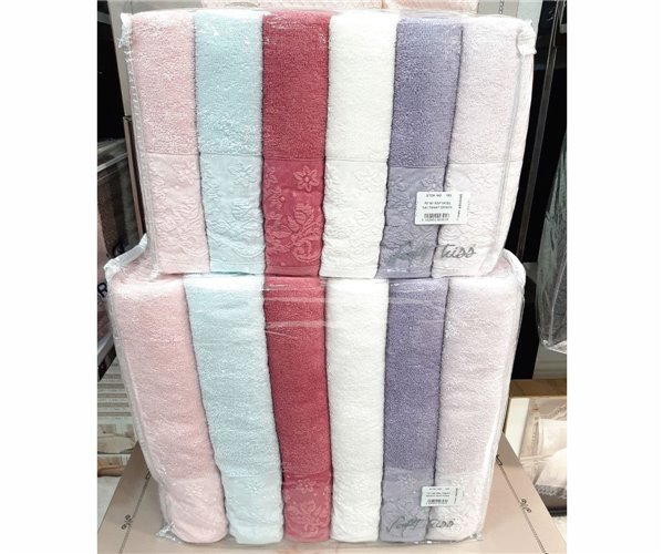 Набор Махровых Полотенец 50x90 + 70x140 см по 6 шт/уп - SOFT KİSS lüx havlu serisi (cotton)