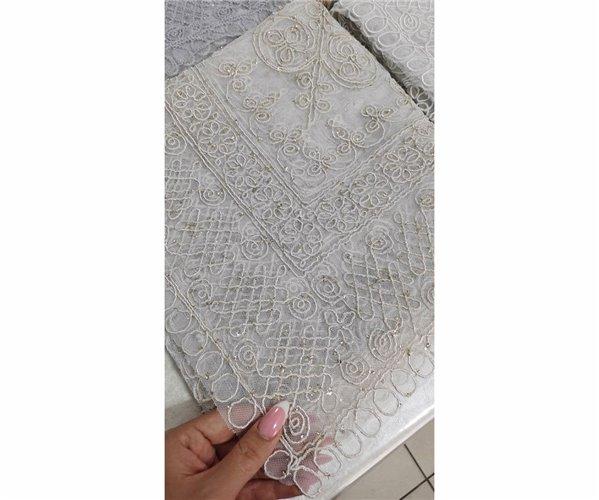 Ажурная Вязаная Скатерть Fransız Tagora 130x130 см - Zelal