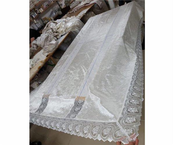 Велюровая Скатерть с Вышивкой 120x160 см Villur Masa Örtüsü - Zelal