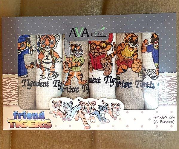 Вафельные Полотенца с Вышивкой 40x60 см 6 шт/уп Ava Home - ByTem