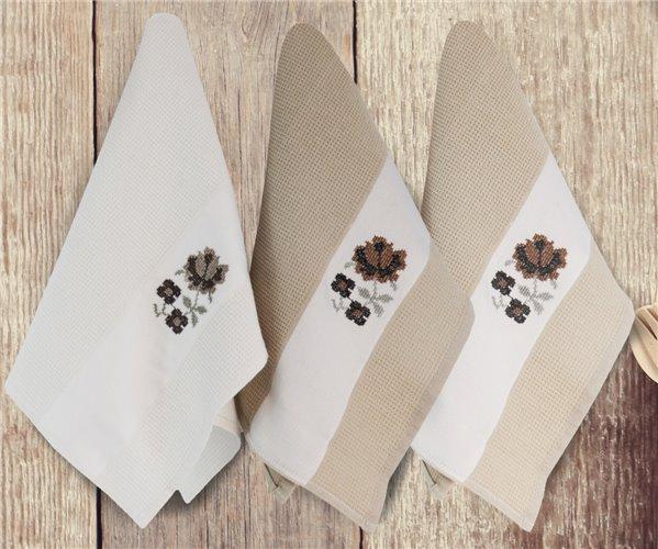 Набор Вафельных Полотенец 40x65 см 3 шт/уп Flower Kahve 3'lü Peçete - Ephemeris