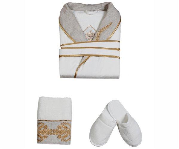 Подарочный Набор Халат + Полотенце + Тапочки (L) Hanzade Gold Bayan Bornoz Seti - Large- EcoCotton