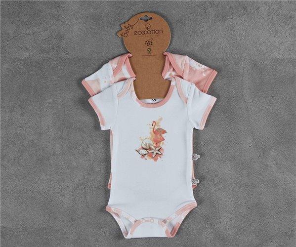 Комбинезончики (2 шт) 12-18 месяцев для Младенцев 12-18 ay Pingu Kısa Kollu Zıbın Seti - EcoCotton