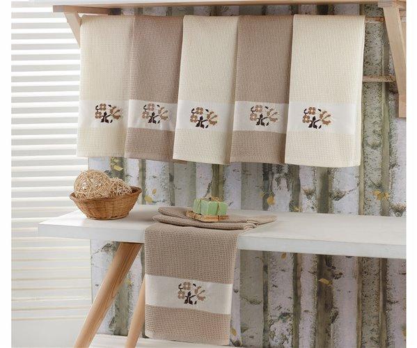 Полотенца вафельные с вышивкой 50x70 см 4 шт/уп 4-LÜ QUALİTE EKMEK
