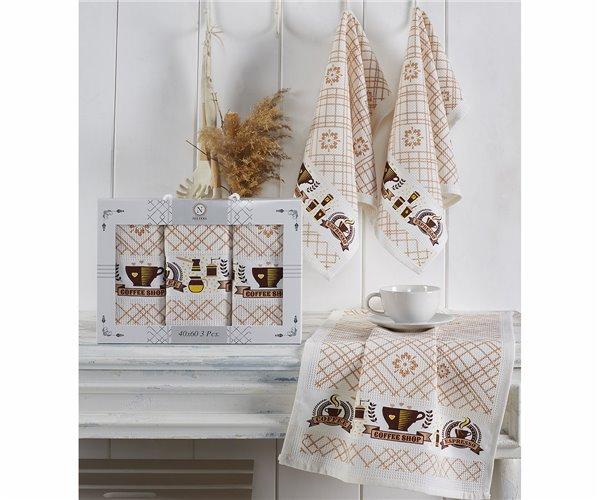 Полотенца вафельные с вышивкой 40x60 см 3 шт/уп 3-LÜ PİETRA LAVANTA - Nilteks