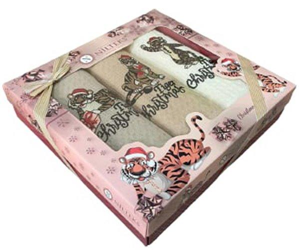 Полотенца вафельные с вышивкой 40x60 см 2 шт/уп 2 PCS LUX SPORT TİGER - Nilteks