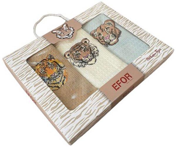 Полотенца вафельные с вышивкой 40x60 см 3 шт/уп 3 PCS LUX CHEF TİGER