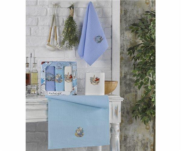 Полотенца вафельные с вышивкой 40x60 см 3 шт/уп 3-LÜ LÜX VİP CAKE - Nilteks