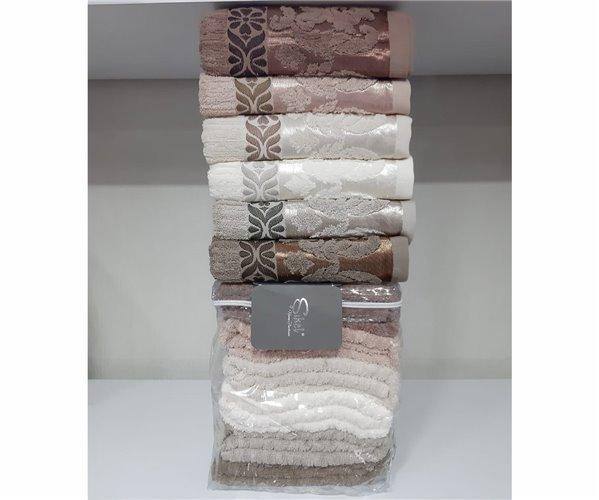 Набор Махровых Полотенец 70x140 см. + 50x90 см. 2 шт/уп. Buta Cotton - Sikel