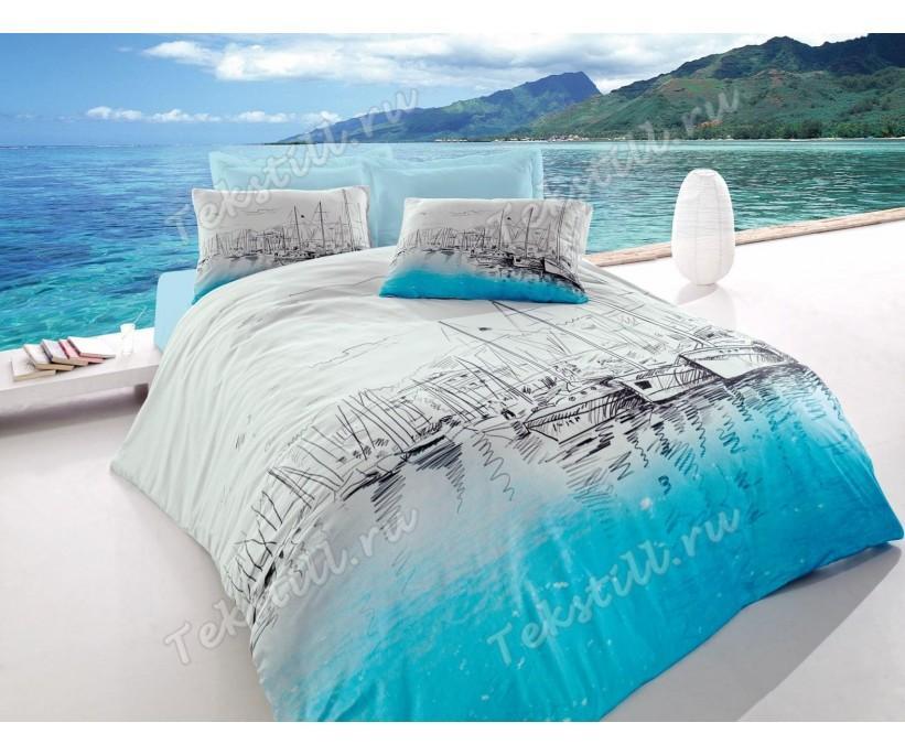 Комплект Постельного Белья ЕВРО Ранфорс Maritime Ranforce Marina- cotton box