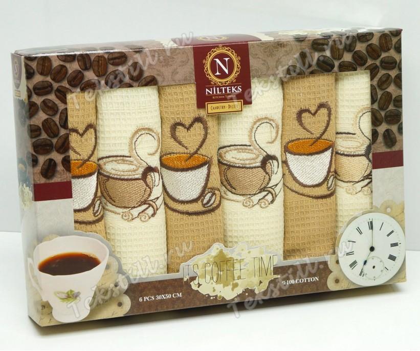 Набор Вафельных Полотенец 30x50 см. 6 шт/уп. VIP - Nilteks