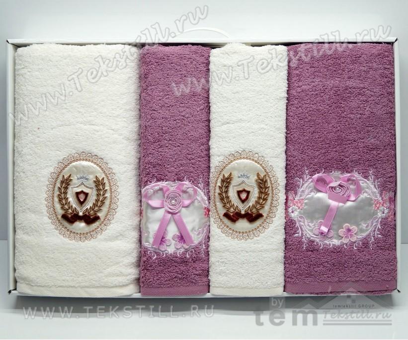 Набор Махровых Полотенец с вышивкой 70x140 см. + 50x90 см. 4 шт/уп. King - Rebeka