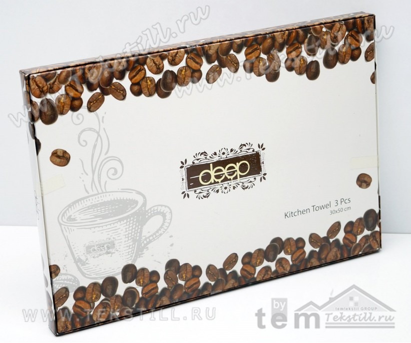 Махровые Полотенца с Вышивкой 30x50 см. 3 шт./уп. Deep Coffee - DNZ