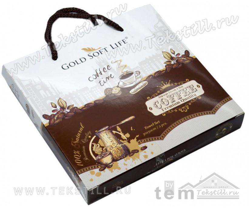 Махровые Полотенца с Вышивкой 30x50 см. 2 шт./уп. Coffee - GOLD SOFT LIFE