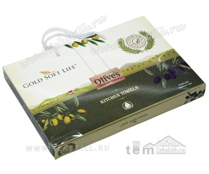 Махровые Полотенца с Вышивкой 30x50 см. 3 шт./уп. Oliva - GOLD SOFT LIFE