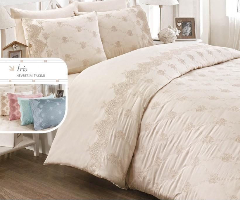 Комплект Постельного Белья с Вышивками Iris - Royal Nazik