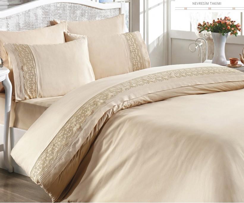 Комплект Постельного Белья с Вышивками Armoni 1-но-спальный - Royal Nazik