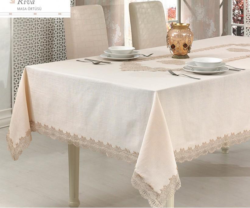 Скатерть с Декоративной Вышивкой 160x260 см Riva - Royal Nazik