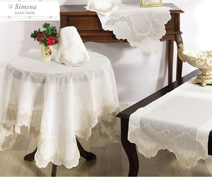 Набор Скатертей (5 предметов) с Декоративной Вышивкой Simena - Royal Nazik