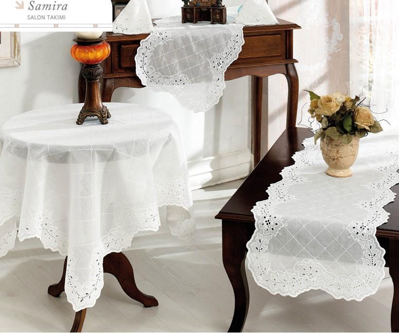 Набор Скатертей (5 предметов) с Декоративной Вышивкой Samira - Royal Nazik