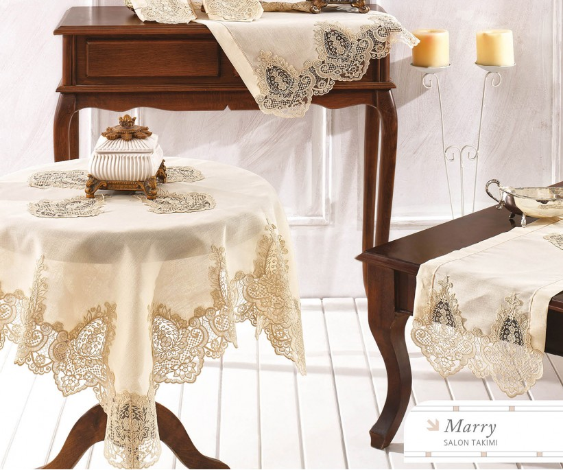 Набор Скатертей (5 предметов) с Декоративной Вышивкой Marry - Royal Nazik