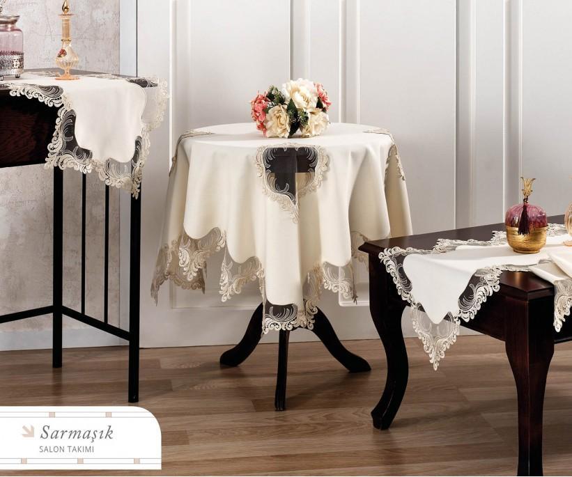 Набор Скатертей (5 предметов) с Декоративной Вышивкой Sarmasik - Royal Nazik