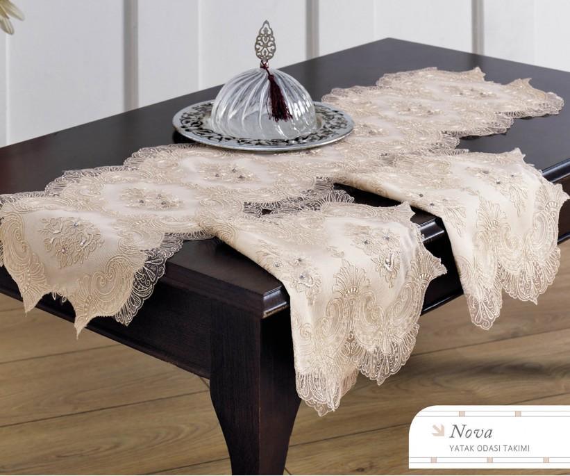 Набор Скатертей (3 предметa) с Декоративной Вышивкой Nova - Royal Nazik