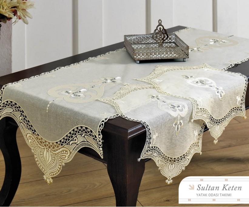 Набор Салфеток (3 предметa) с Декоративной Вышивкой Sultan Keten - Royal Nazik