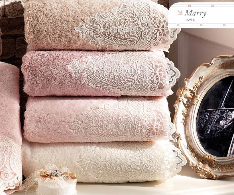 Махровые Полотенца с Вышивкой 85x150 см 1 шт/уп. Marry- Royal Nazik