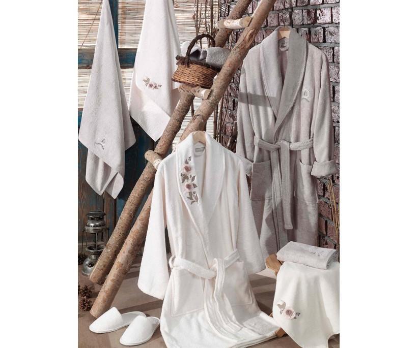 Бамбуковый Семейный Набор с Халатами 8 предметов Sude Aile Bornoz Seti Krem Tas - Dantela Vita