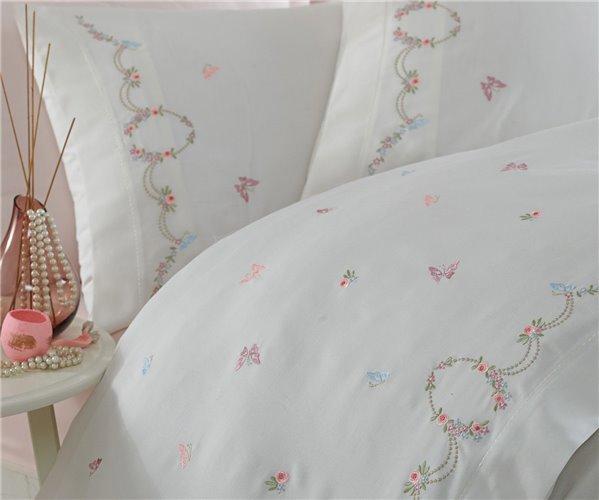 Сатиновое Постельное Бельё с Вышивкой ЕВРО 2-x сп.Комплект - Dantela Vita