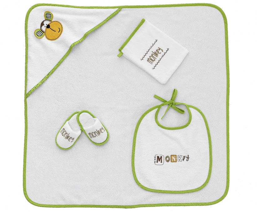 Бамбуковый Подарочный Набор 4 предметa (0-2 годика) Bambu 4 Parça Bebek Kundak Seti - Monkey - Z&R HOME