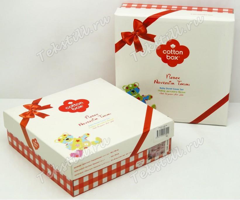 Постельное белье из ранфорса для новорожденных Bebek Ranforce Elephant Mint - cotton box