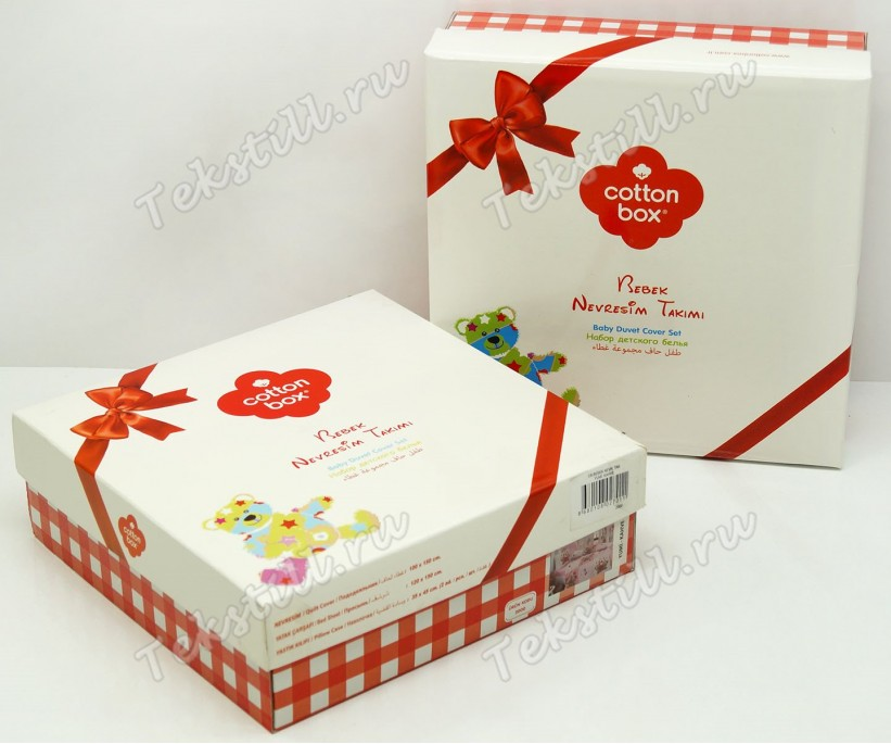 Постельное белье из ранфорса для новорожденных Bebek Ranforce Miyav Pembe - cotton box