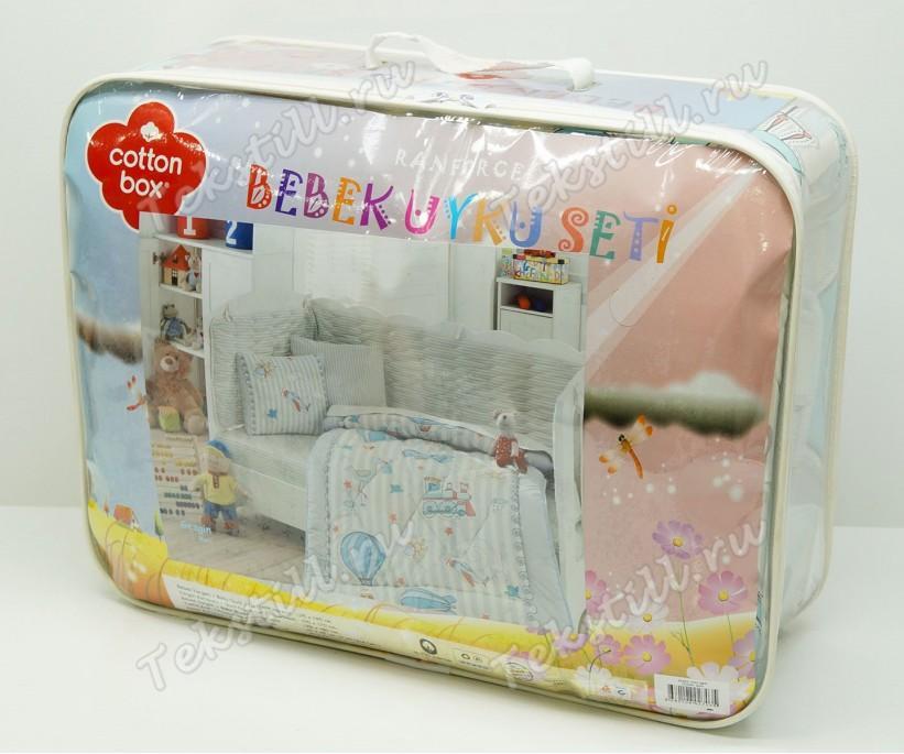Детский Комплект Постельного белья Bebek Ranforce Uyku Seti Dino Mavi - cotton box