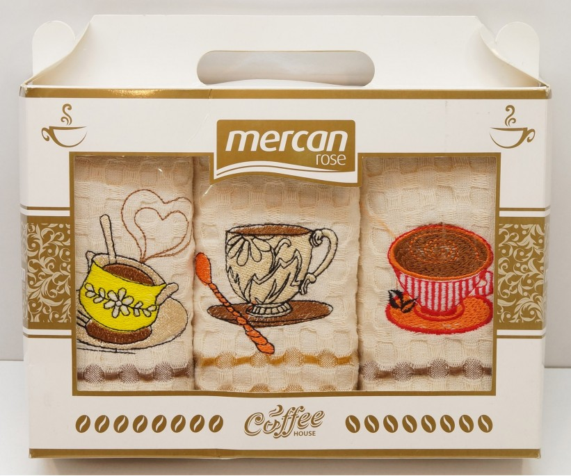 Кухонные Вафельные Полотенца Салфетки с Вышивкой 50x70 см 3 шт/уп - Mercan