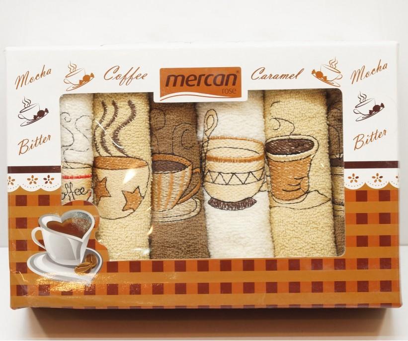 Махровые Полотенца с Вышивкой 30x50 см 6 шт/уп - Mercan