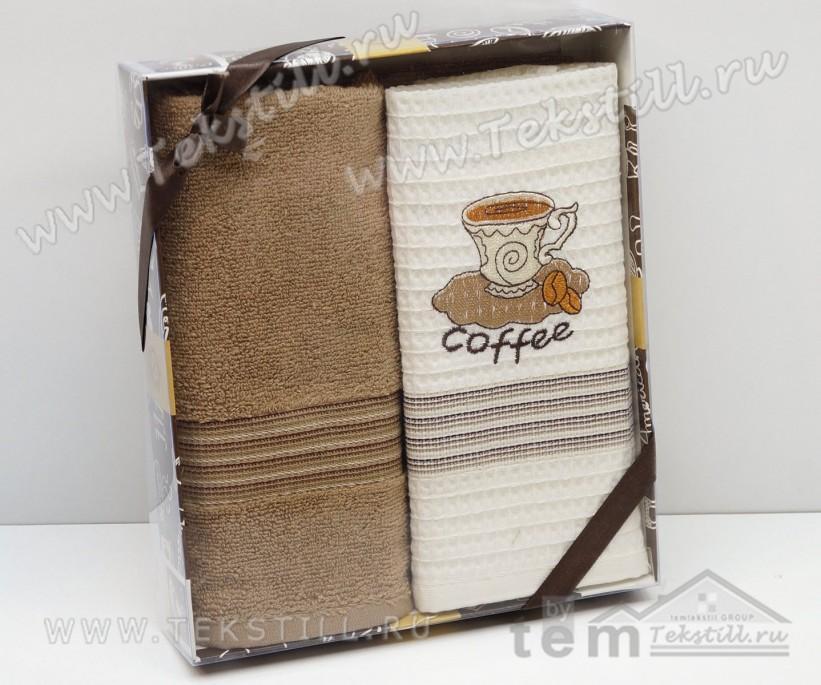 Набор Полотенец Махровый с Вафельным 50x70 см 2 шт/уп Coffee - Nilteks