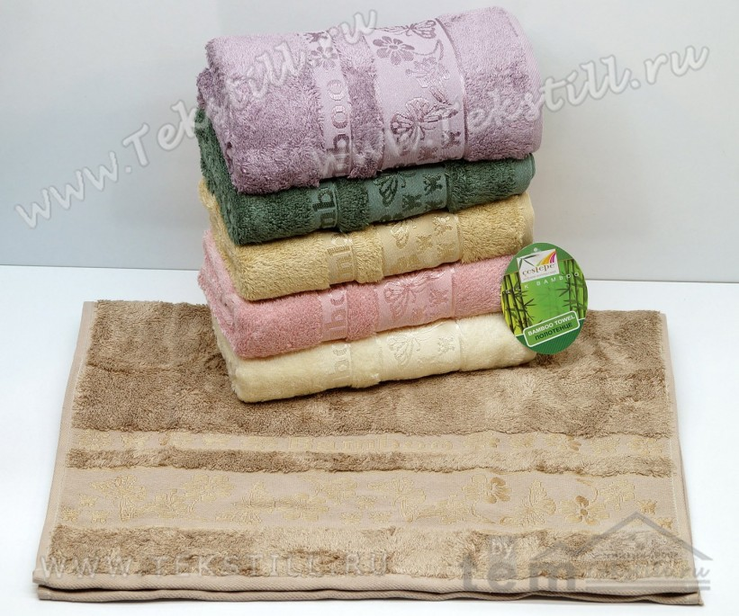 70x140 см. 6 шт/уп. Бамбуковые Банные Полотенца Bamboo 3053 Kelebek - Cestepe