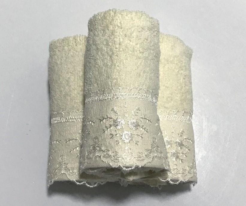 Махровые Полотенца с Гипюром 30x50 см. 3 шт./уп. Krem - CAPA HOME
