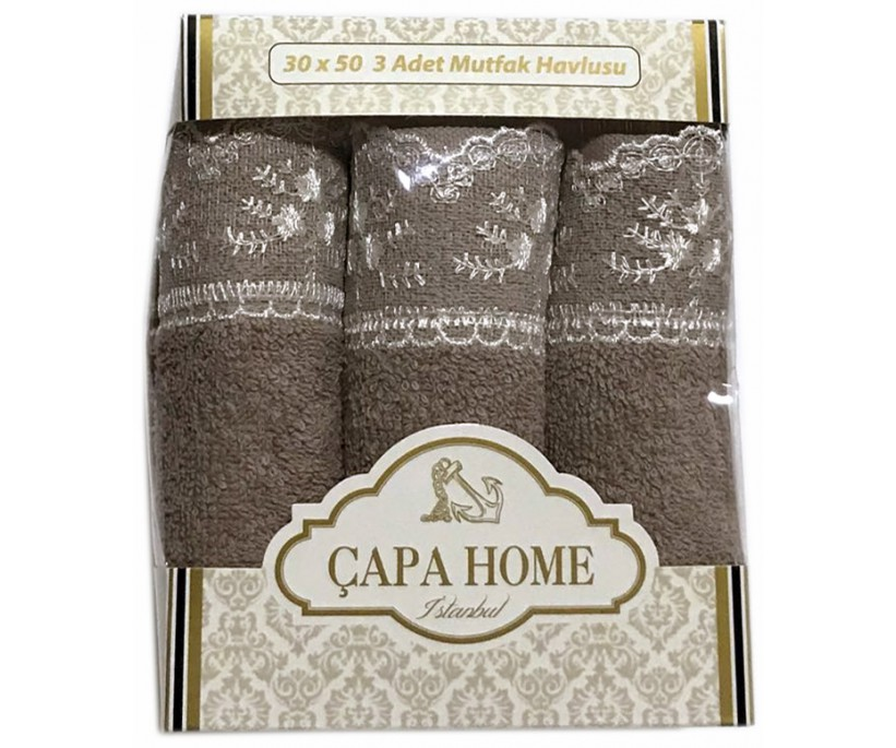 Махровые Полотенца с Гипюром 30x50 см. 3 шт./уп. Kahve - CAPA HOME