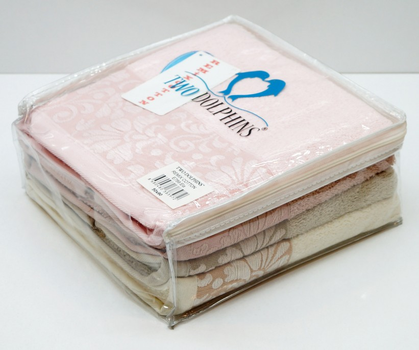Махровые Лицевые Полотенца 50x90 см. 4 шт/уп. E789 ELA TWO DOLPHINS