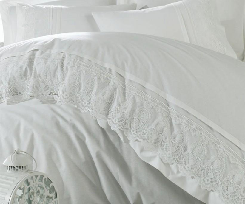 Постельное Бельё из Ранфорса с Гипюром Семейный Комплект - Dantela Vita