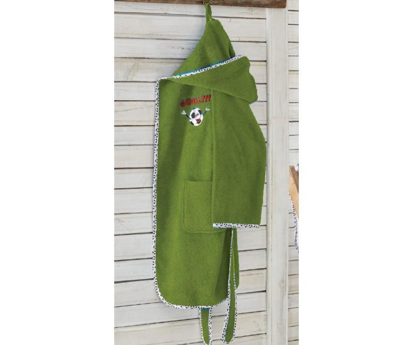 Халат Детский на (9-10 лет) Organik Funny Football Yeşil ecocotton