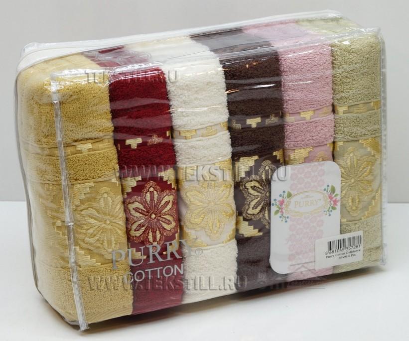 Махровые Лицевые Полотенца 50x90 см. 6 шт/уп. Cotton PURRY