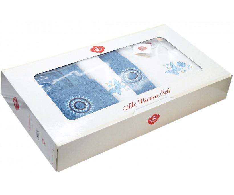 Махровый Набор (6 предметов) Семейный с Халатами Nakisli Aile Bornoz Seti - Cotton Box