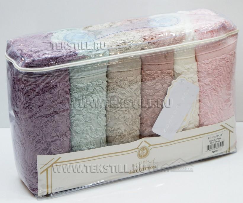 Махровые Лицевые Полотенца 50x90 см. 6 шт/уп. Lux Cotton E837 Velovis - PHILIPPUS