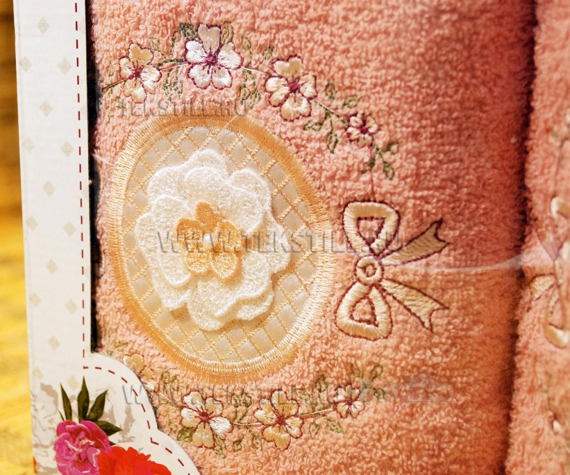 Набор Махровых Полотенец с вышивкой 70x140 см. + 50x90 см. 2 шт/уп. - Rebeka